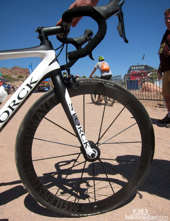 As if building a bike with Carbonsports Lightweight wheels isn't enough, Storck has them custom tweaked just for him, too