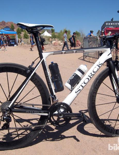 Markus Storck was riding around the Interbike OutDoor Demo area on his sleek new Aernario aero road bike