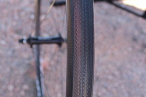 The TdF4SL sports 23mm rims. Rolf found that, because of its wide-rim shape, the 60mm TdF6SL was faster than the company's 80mm wheel in the wind tunnel
