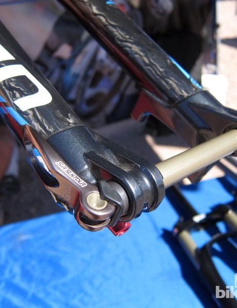 SR Suntour's 15mm through-axle system is admirably simple to operate