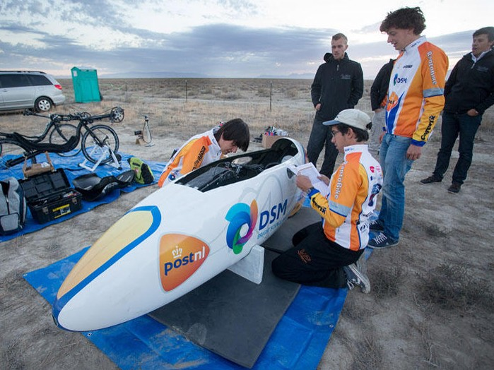 The super streamlined VeloX2 vehicle was designed and built by students at Delft University of Technology in Amsterdam