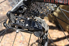 Shifting is handled by a SRAM X9 Type 2 rear derailleur paired with an 11-36 cassette