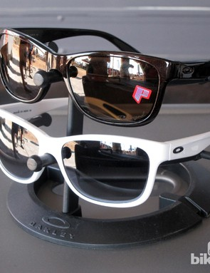The new Oakley Forehand women's-specific glasses offers a casual look but the grippy Unobtainium inserts at the nosepiece and earstem help them stay on during activity.