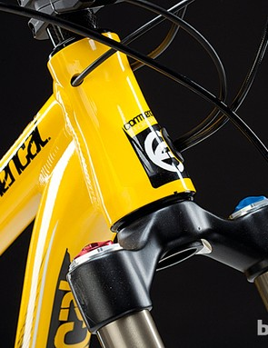 That tapered head tube includes ports for internal gear and brake routing
