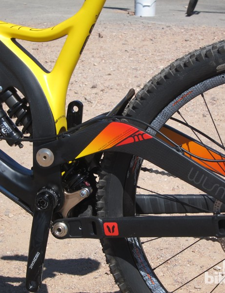 The suspension design on Devinci's new Wilson Carbon keeps most of the weight low in the chassis