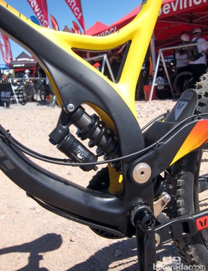 The rear shock on Devinci's Wilson Carbon is well protected inside the frame
