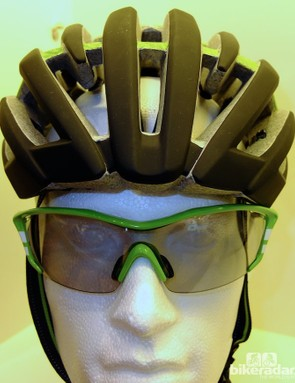 Front view of Endura's forthcoming road helmet, with glasses from their extensive eyewear range