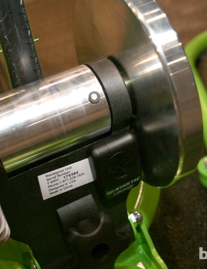 The Kinetic inRide Watt Meter works off a sensor that attaches to the back of the resistance unit on the trainer