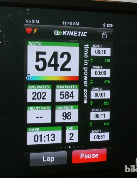 One of a number of screens of data - this one shows watts, time in power zones, average and max watts, time and lap