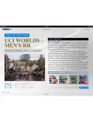 An in-depth preview of this weekend's men's road race is just one feature you'll find in this week's issue of Cycling News HD