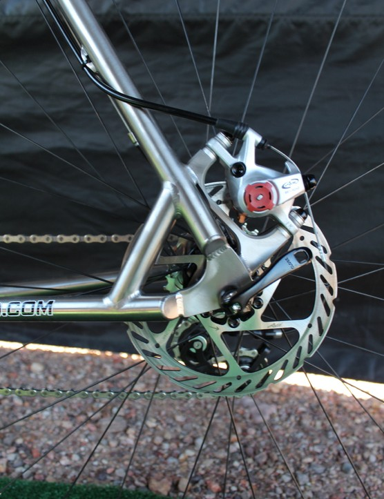 Post mounts provide the setup in the rear for the mechanical system on the disc cyclocross bike