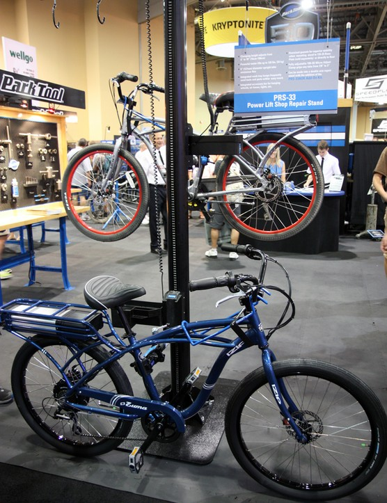 The Park Tool PRS-33 Power Lift Shop Stand's burly motor can supposedly lift up to 54kg (120lb)