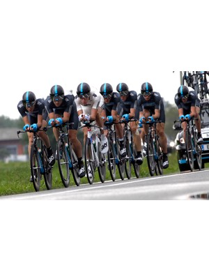 Bradley Wiggins (third from left) rides with Team Sky during the 2010 Giro d'Italia TTT