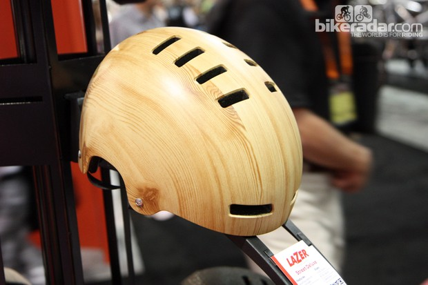 Nope, it's not really wood. This Lazer Street Deluxe helmet is merely finished in wood grain