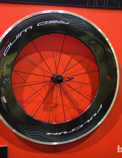 New graphics for the 105mm-deep Fulcrum Red Wind aluminum-and-carbon road clinchers for 2013
