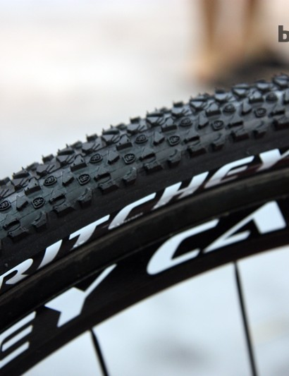 Ritchey's new Shield cyclocross tire is intentionally non-UCI legal with its 700x35mm size. Ritchey contends that most 'cross racers aren't competing in UCI-sanctioned events, anyway, and can stand to benefit from the larger casing size