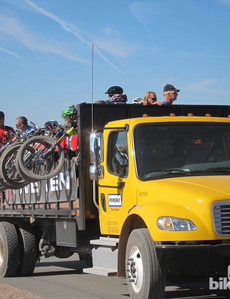 Interbike provided a constant stream of shuttles at Outdoor Demo to the top of Bootleg Canyon's downhill runs