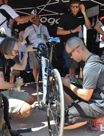 BikeRadar technical editor James Huang in action. Here, he takes notes on a Storck road bike