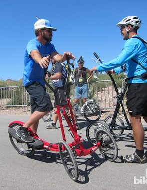 It's not always about big brands and bicycles at Interbike, as this stair-step tricycle demonstrates