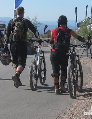 People walking back from test rides with flat tires was a common sight at Outdoor Demo