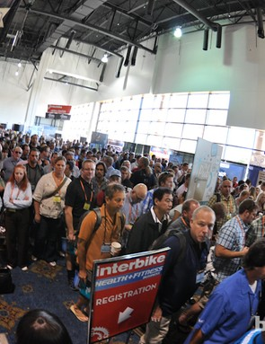 On Wednesday, Interbike moved indoors, and a crush of attendees marked the opening morning rush. Insert cliche cattle sound here