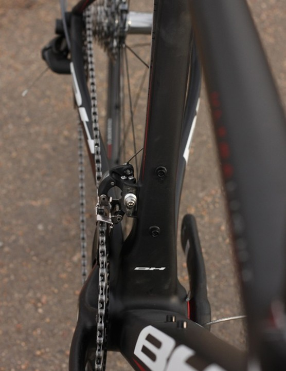 BH uses tube shaping to achieve the Ultralight's on-road performance. Here, the seat tube has been offset to accommodate the front derailleur and a massive bottom bracket interface