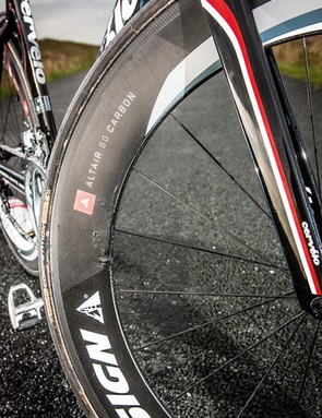 The P2's steady handling is a real help when you're running deep aero rims