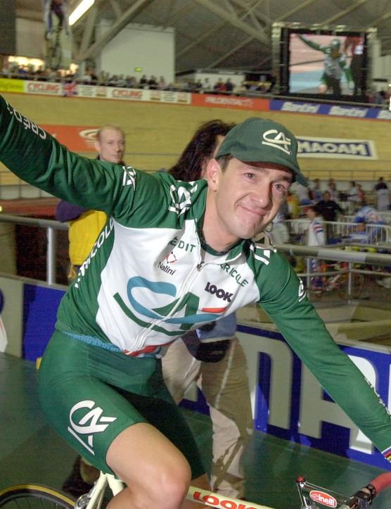 Chris Boardman leaving the Manchester Velodrome after another world hour record