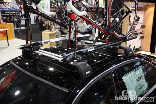 Thule launched the new Sprint (left) and Circuit (right) roof rack trays at Interbike, both of which feature wind-cheating shapes and versatile mounting systems that work with nearly any type of crossbar
