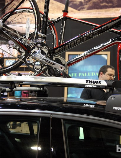 Thule's new Sprint and Circuit fork-mount trays are slightly contoured to match modern car rooflines, but they also sit quite high off the crossbars