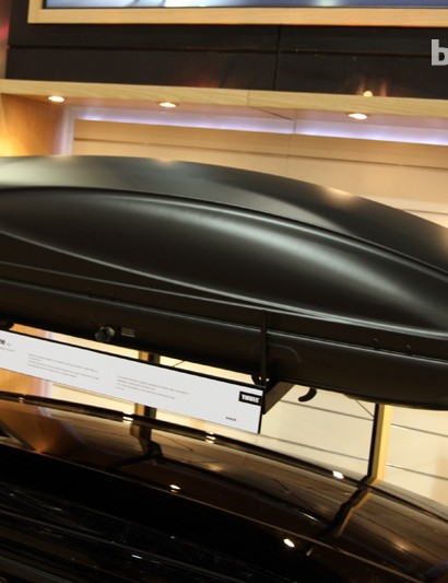 The Thule Force Alpine cargo box features an older shape but a newly textured skin that supposedly generates less drag