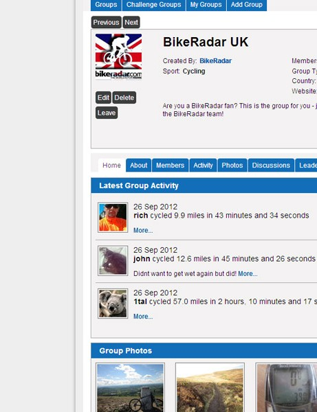 We've just added new group functions to BikeRadar Training