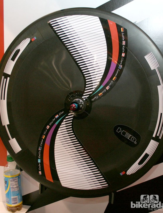 The Alberto Contador styled HED Stinger disk wheel