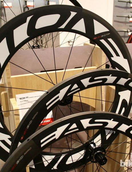 Easton's arsenal of wheels, as used by BMC