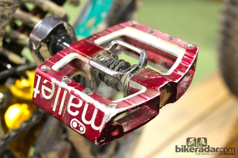 This well-worn Mallet DH pedal belongs to Santa Cruz Syndicate racer Greg Minnaar. CrankBrothers claims there have been no spindle failures on the new pedal