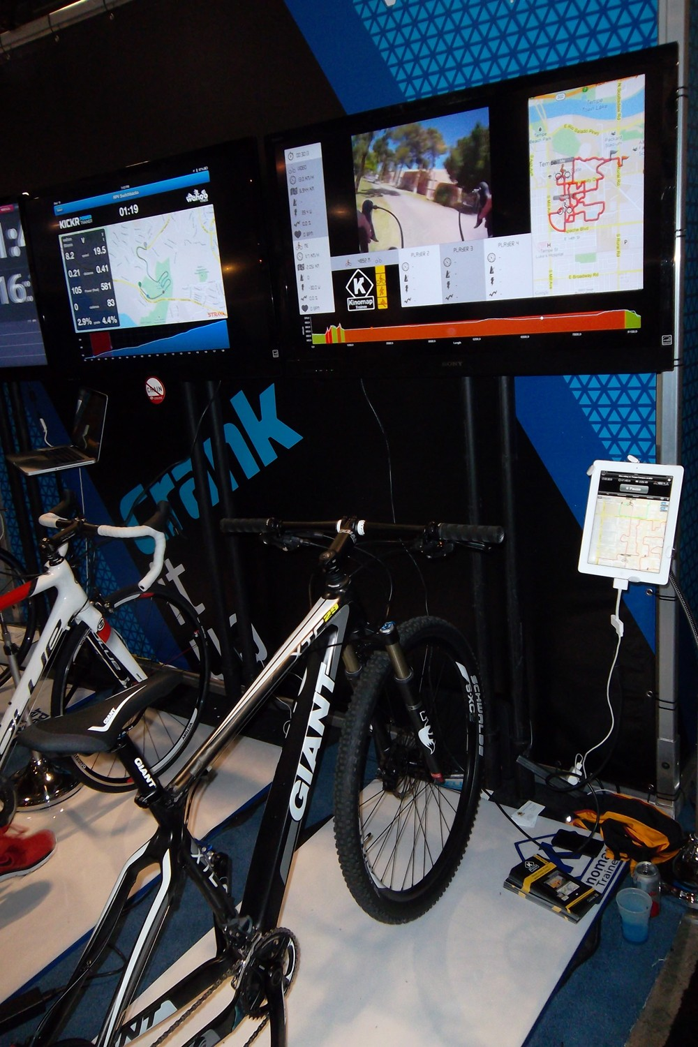 The Tacx system works on ANT+, and can connect wirelessly to your power meter as well as the TV screen as