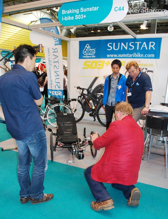 Engineers at the Sunstar stand were on hand to answer technical queries on their retro-fit pedelec S03 kit