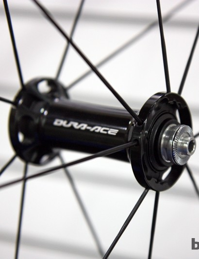 Shimano has given its Dura-Ace wheels new hubs and lacing patterns for 2013. Carrying over, though, are the adjustable angular contact bearings and stout seals
