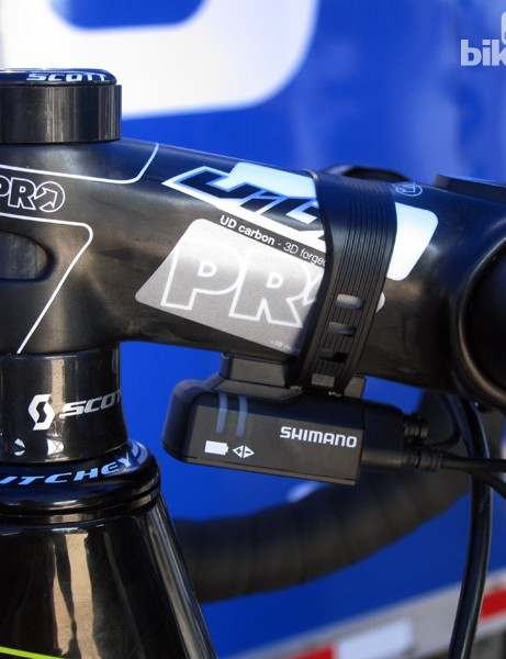Read our lips: PRO and Shimano will inevitably develop a way to directly attach a Di2 control box to the underside of a stem with no unsightly rubber band required