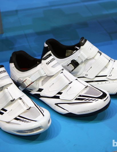 Shimano has moved away from funky colors to a more basic black-and-white palette for the 2013 road shoe collection