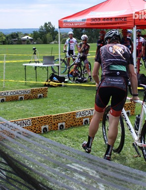Cyclocross dismount step 7: Hit the ground with your right foot first