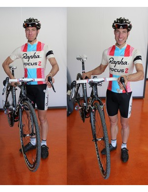 Don't hold the bike inside your elbow (sad face at left). Instead, hold it outside your elbow, away from your body (happy face at right)