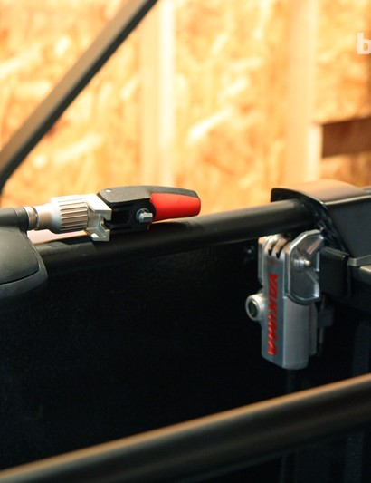 Yakima's new BikerBar is an all-in-one solution for carrying two bikes inside the bed of a pickup truck. No tools or holes are required for installation, and retail price is US$239