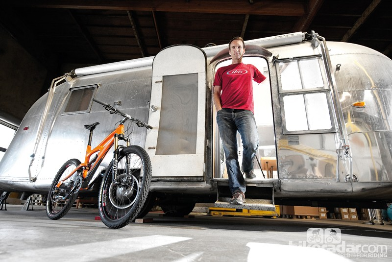 Ibis Cycles founder Scot 'Chuck Ibis' Nicol in his vintage Airstream in California