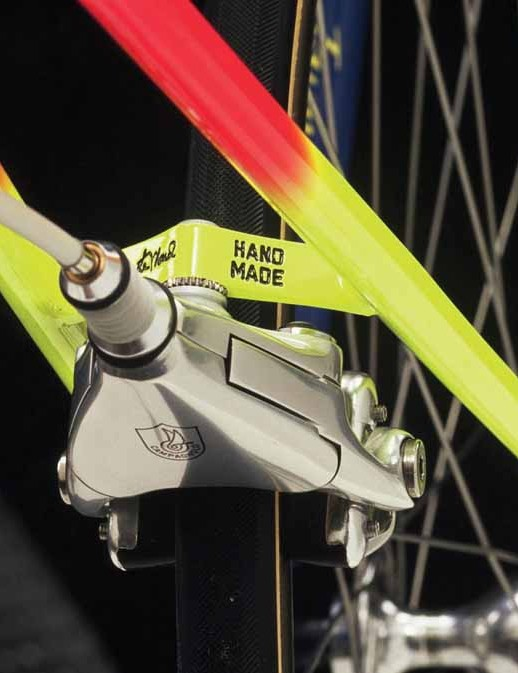 A Campagnolo Delta rear brake on one of LeMond's handmade frames
