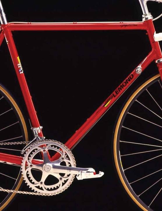 A Campagnolo crankset on one of LeMond's bikes