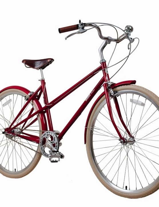 The mixte frame Madam is a speedier city bike option from Bobbin, and comes in lipstick red