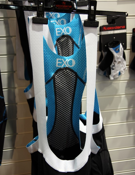 The AeroFix Pro straps on Giordana's new EXO bib shorts feature laser-cut edges and lots of perforations to boost airflow