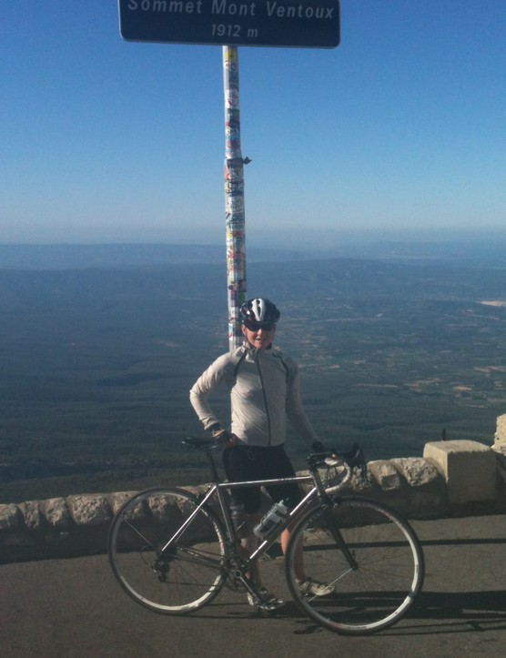BikeRadar Training member Kirsty at the top of Mont Ventoux