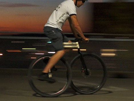 The minimalist Bicymple takes away the chain and derailleurs, echoing the design of a unicycle but with added support